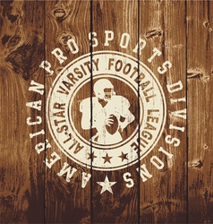 all star football wood board vector image vector image