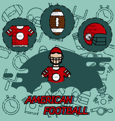American football flat concept icons vector