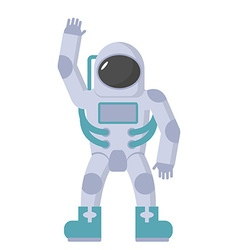 Astronaut in spacesuit waving hand on a whi vector