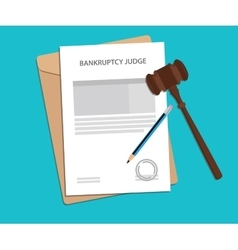Bankruptcy judge returns concept with vector