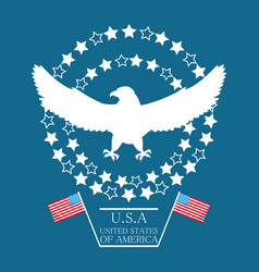 Beauty eagle with american flag symbol vector