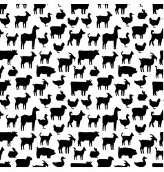 black farm animals silhouettes pattern design vector image