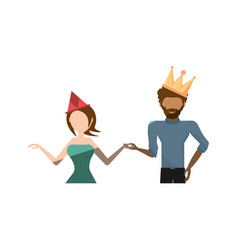 cartoon couple dancing cheerful vector image