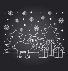 Chalkboard new year card with goat vector