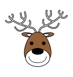 Color silhouette image of face of reindeer vector