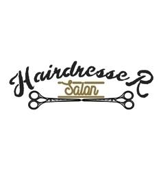 Color vintage hairdresser salon emblem vector