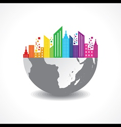 Colorful cityscape on half earth vector image