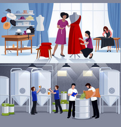 craftspeople tailors brewers 2 flat banners vector image vector image