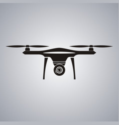 Drone with action camera front view isolated sign vector