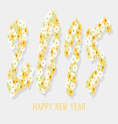 Happy new year with flower vector