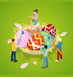 Isometric people painting traditional easter eggs vector