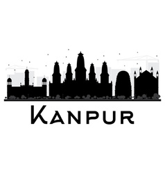 Kanpur city skyline black and white silhouette vector