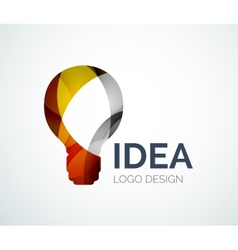 Light bulb logo design made of color pieces vector image