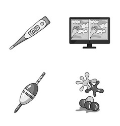 medicine fishing and other monochrome icon in vector image
