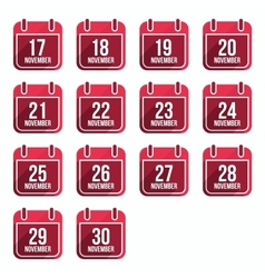 November flat calendar icons with long shadow vector image