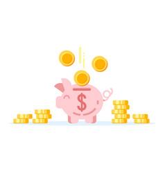 piggy bank with golden coins vector image vector image