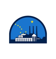Power plant alaska flag half circle retro vector