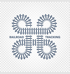 Railroad tracking road junction with turns and vector