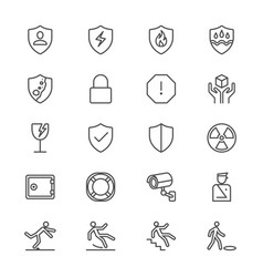 Safety thin icons vector