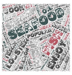 Seafood glossary text background wordcloud concept vector