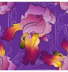 Seamless pattern of irises purple vector