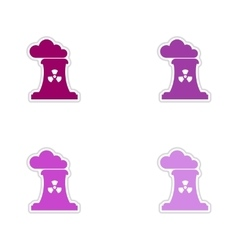 Set of paper stickers on white background toxic vector