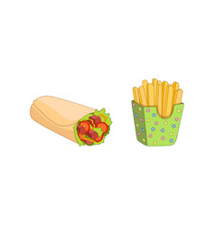 Shawarma roll potato fry set isolated vector