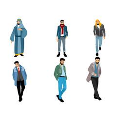 Six modern muslim men vector