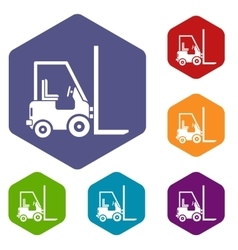 Stacker loader icons set vector image