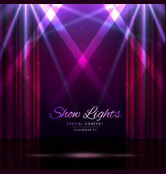 Stage with curtains and spotlights vector