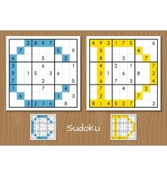 Sudoku set with answers c d letters vector