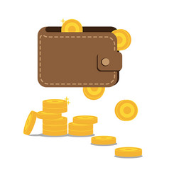 Wallet and coins vector
