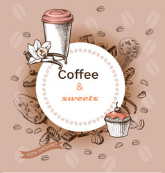 hand drawn hot coffee template vector image
