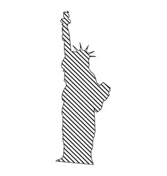 Monochrome silhouette of statue of liberty to vector