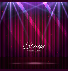 Stage with closed curtains and spotlights vector