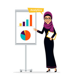 Arab woman shows profit growth concept analytics vector