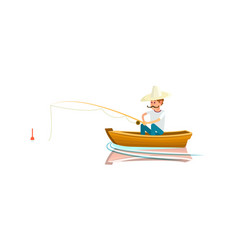 Fishing icon with fisherman in boat on lake vector
