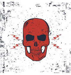Red skull with lightning bolts and grunge texture vector