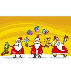 Santa claus christmas group cartoon vector