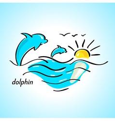 dolphin sea vector image