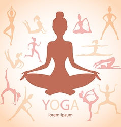 Three contours women yoga poses beige background vector