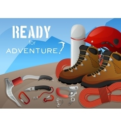 Mountain climbing adventure background banner vector
