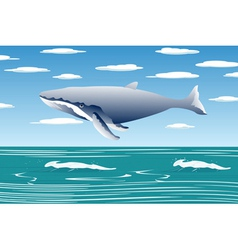 flying sperm whale vector image
