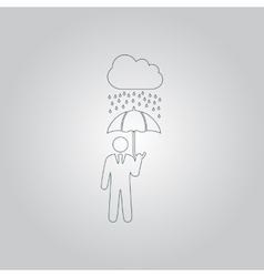 Businessman with umbrella protect from rain vector
