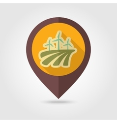 Windmill field flat mapping pin icon vector