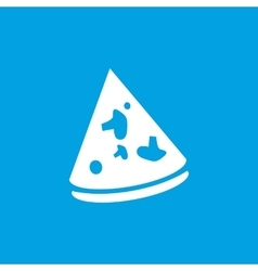 Pizza slice icon white vector