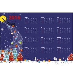 Calendar 2016santa coming to the cityhorizontal vector