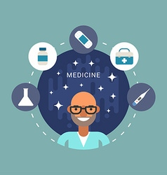Medicine Icons and Objects in the Shape of Circle vector image