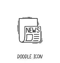 Doodle news icon Newspaper symbol vector image