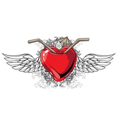 Heart with floral and wings vector